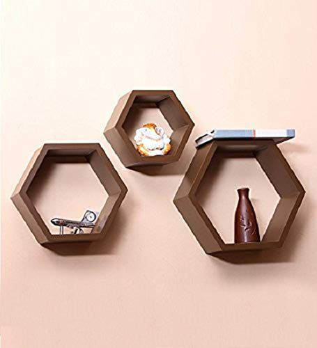 HOUZIE Wall Shelf Rack Set of 3 Hexagon Shape Storage Wall Shelves for Home - Brown