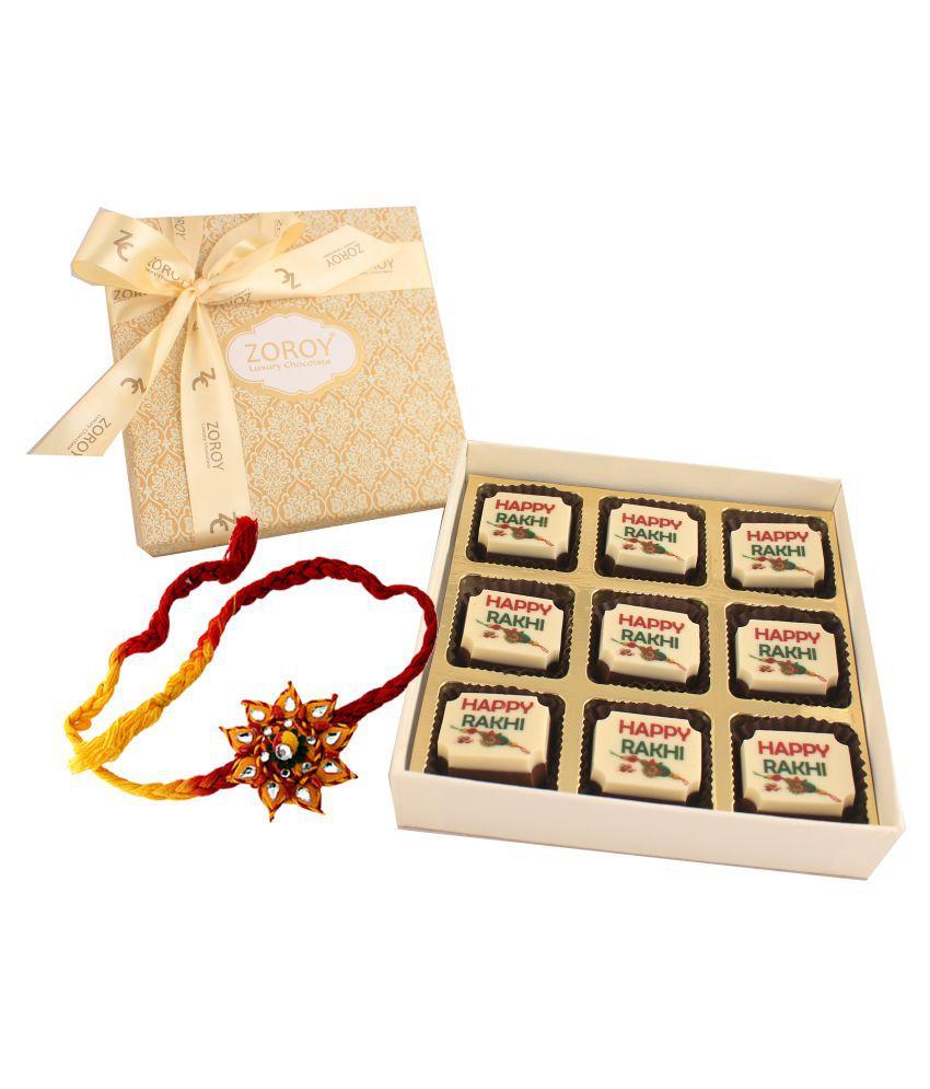 Zoroy Luxury Chocolate Chocolate Box box of 9  with Happy Rakhi chocolate 95 gm