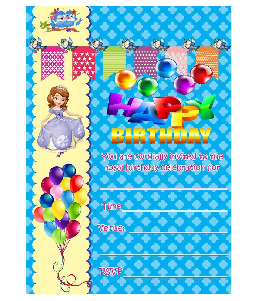 Birthday Metallic Card Invitations with Envelopes - Kids Birthday Party Invitations for Girls (25 Count) BPC-1020