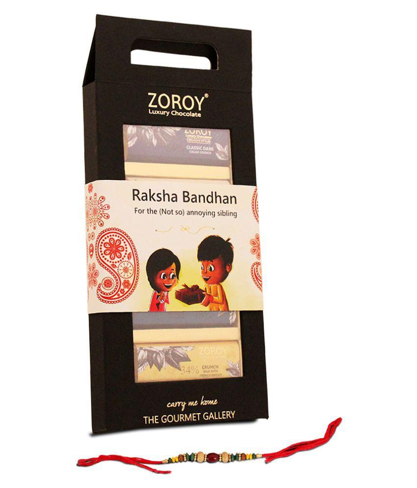 Zoroy Luxury Chocolate Chocolate Box Belgian 5 chocolate bar set with Rakhi 125 gm