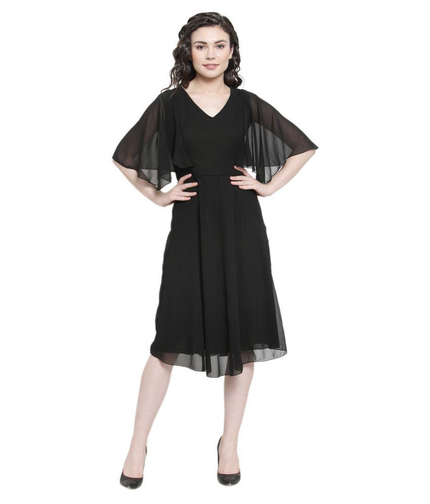 Color Cocktail Georgette Black Regular Dress