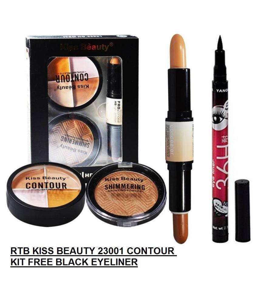 RTB Eyeliner & Kiss Beauty Concealer, Shimmer Powder & Contour Kit Pack of 2