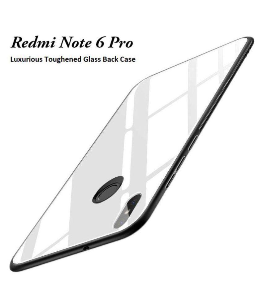 Xiaomi Redmi Note 6 Pro Mirror Back Covers Doyen Creations - White 360°  Luxurious Toughened Glass Back Case