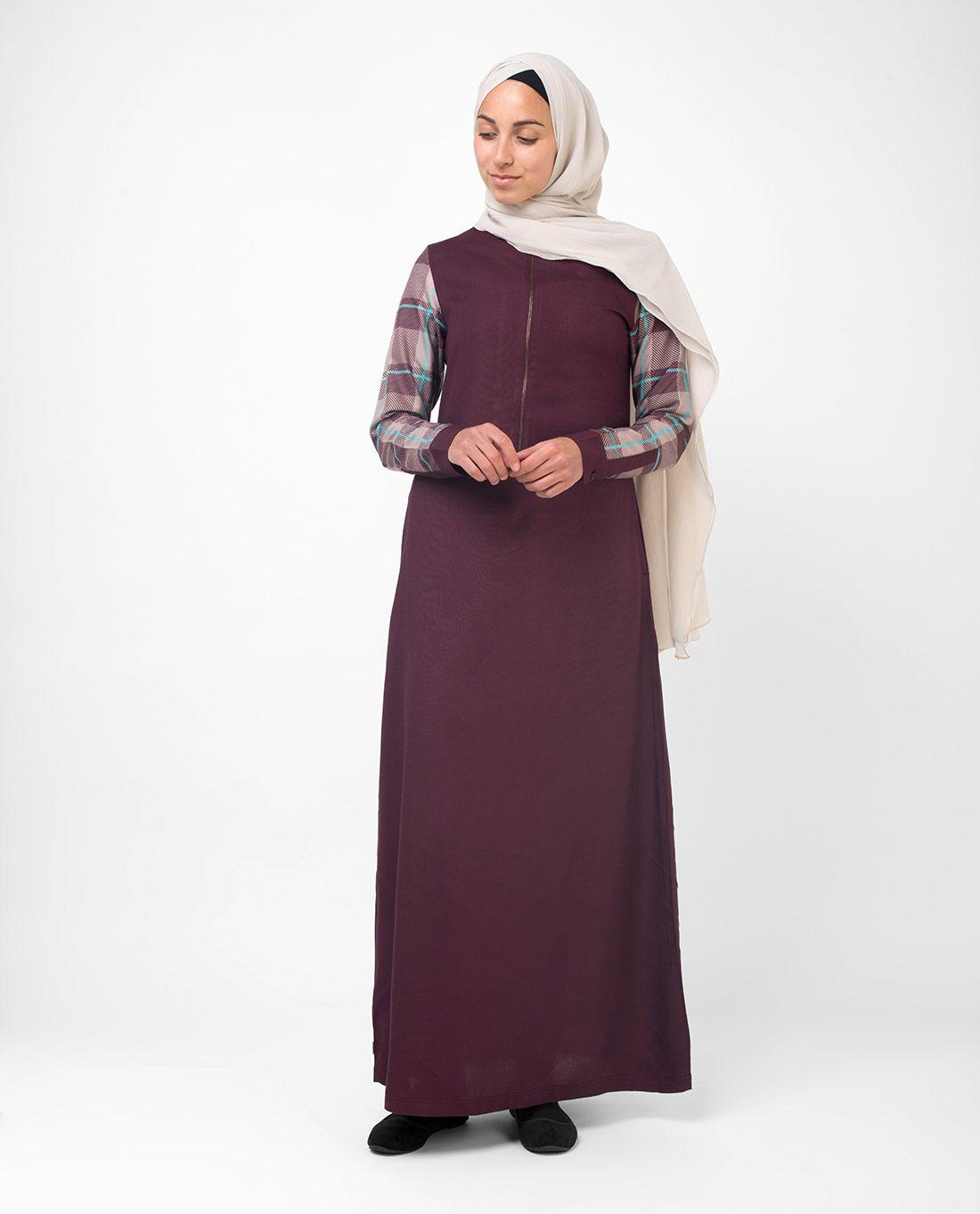 Silk Route London Purple Viscose Stitched Burqas without Hijab