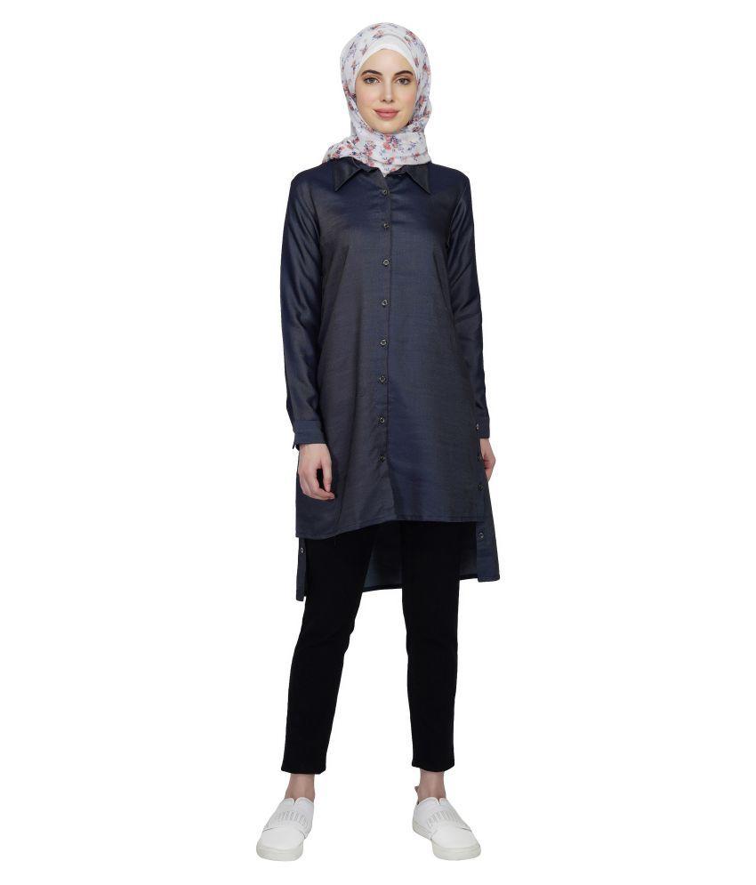Ruqsar Blue Cotton Stitched Burqas without Hijab