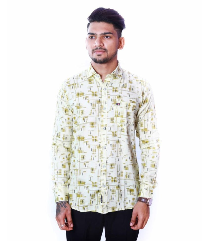 Glamtrend 100 Percent Cotton Yellow Prints Shirt