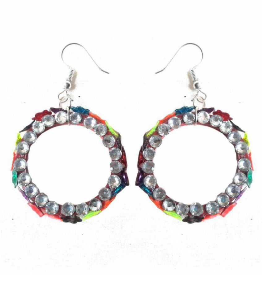 Multicolour Floral Design with Stone Handmade Paper Quilling Earrings for Women & Girls