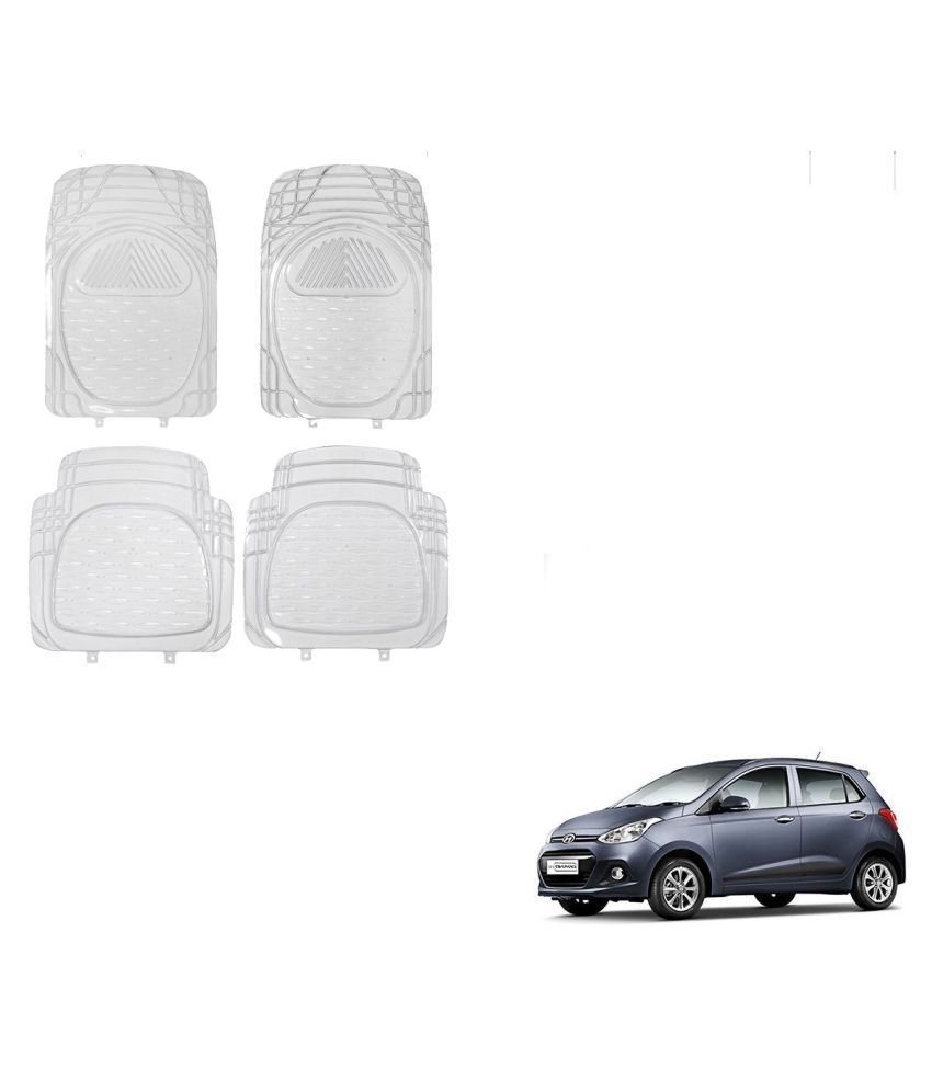 Auto Addict Car Rubber PVC Car Mat 6204 Foot Mats Clear Color Set of 4 pcs For Hyundai Grand i10