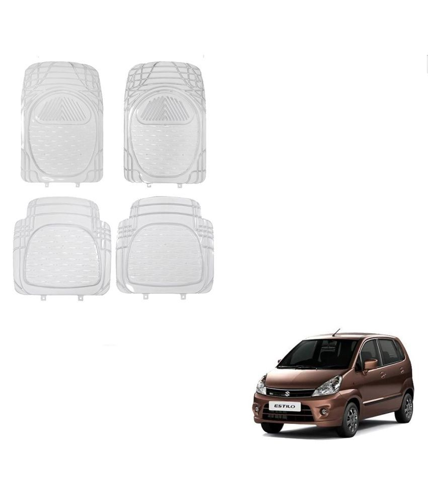 Auto Addict Car Rubber PVC Car Mat 6204 Foot Mats Clear Color Set of 4 pcs For Maruti Suzuki Zen Estilo