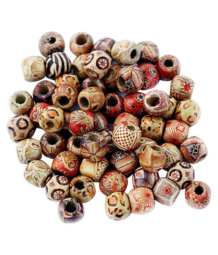 Printed Wooden Beads Dirty Braid Hair Ring (Multicolour, 12 mm) - Pack of 100