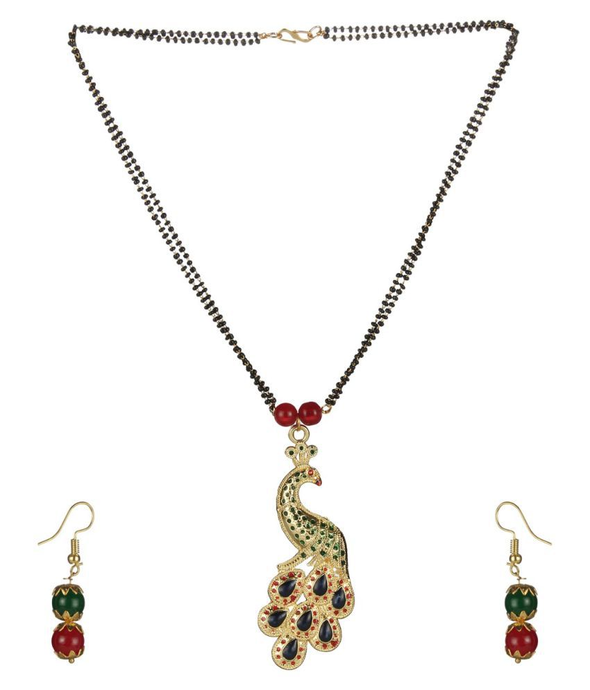 Darshini Designs Multicolored peacock inspired mangalsutra set for women with 18 inches length double line chain