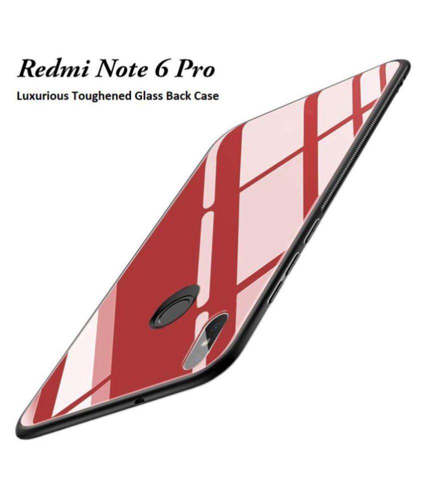 Xiaomi Redmi Note 6 Pro Plain Cases KOVADO - Red 360°  Luxurious Toughened Glass Back Case