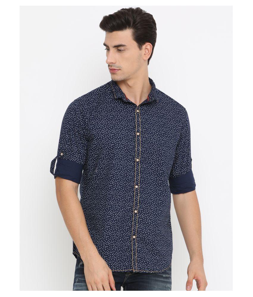 Showoff 100 Percent Cotton Blue Prints Shirt