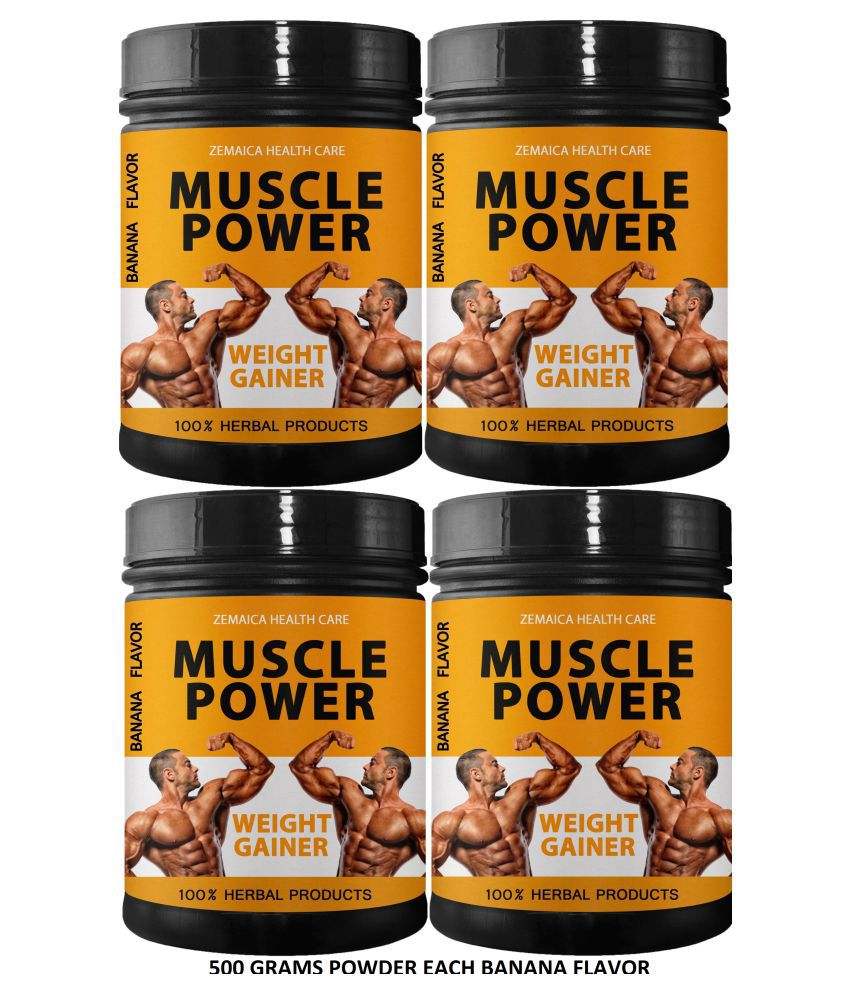 Zemaica Healthcare Muscle Power Weight Gainer Banana Flavor Powder 2000 gm Pack Of 4