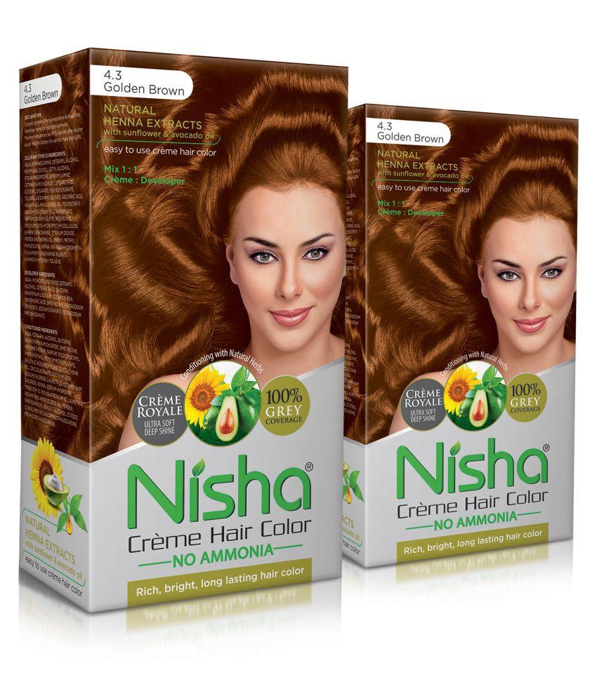 Nisha (60gm, 60ml, 12ml) Cream Permanent Hair Color Brown Golden Brown 4.3 120 mL Pack of 2