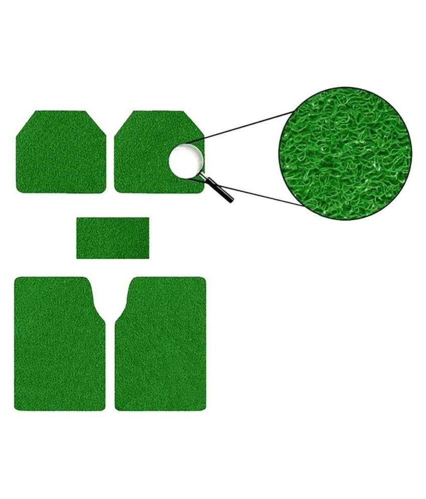 Autofetch Car Anti Slip Noodle Floor Mats (Set of 5) Green for Tata Nano