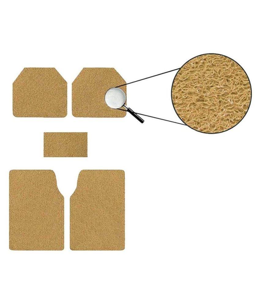Autofetch Car Anti Slip Noodle Floor Mats (Set of 5) Beige for Skoda Fabia [2010-2015]