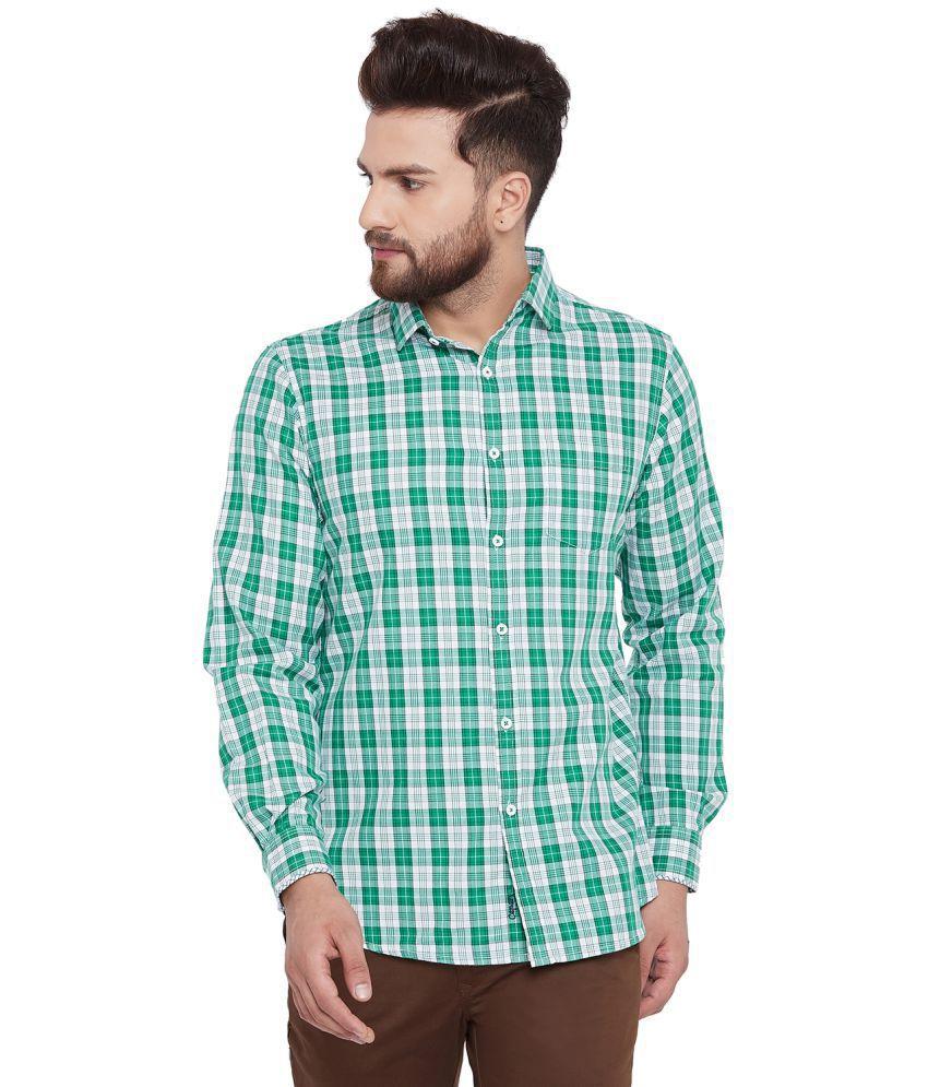 Canary London Cotton Blend Green Checks Shirt