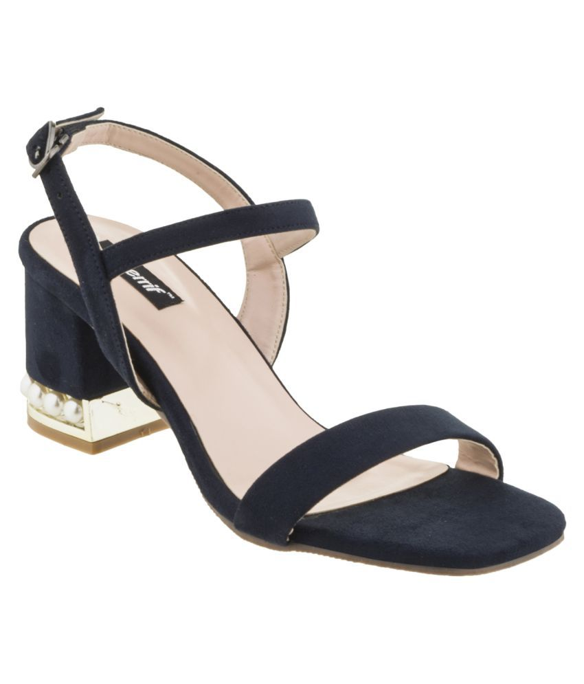 sherrif shoes Navy Block Heels