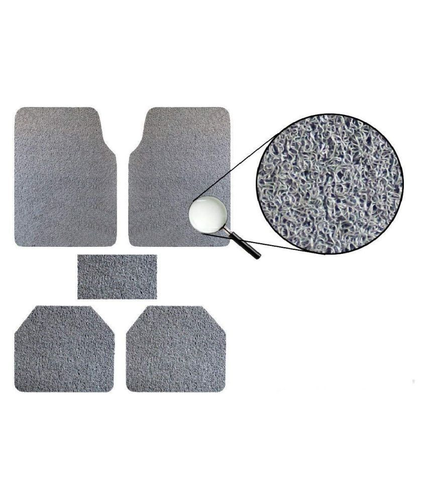 Autofetch Car Anti Slip Noodle Floor Mats (Set of 5) Grey for Toyota Fortuner