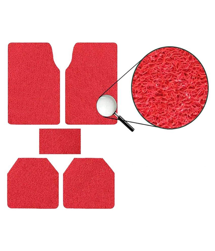 Autofetch Car Anti Slip Noodle Floor Mats (Set of 5) Red for Toyota Innova [2005-2009]