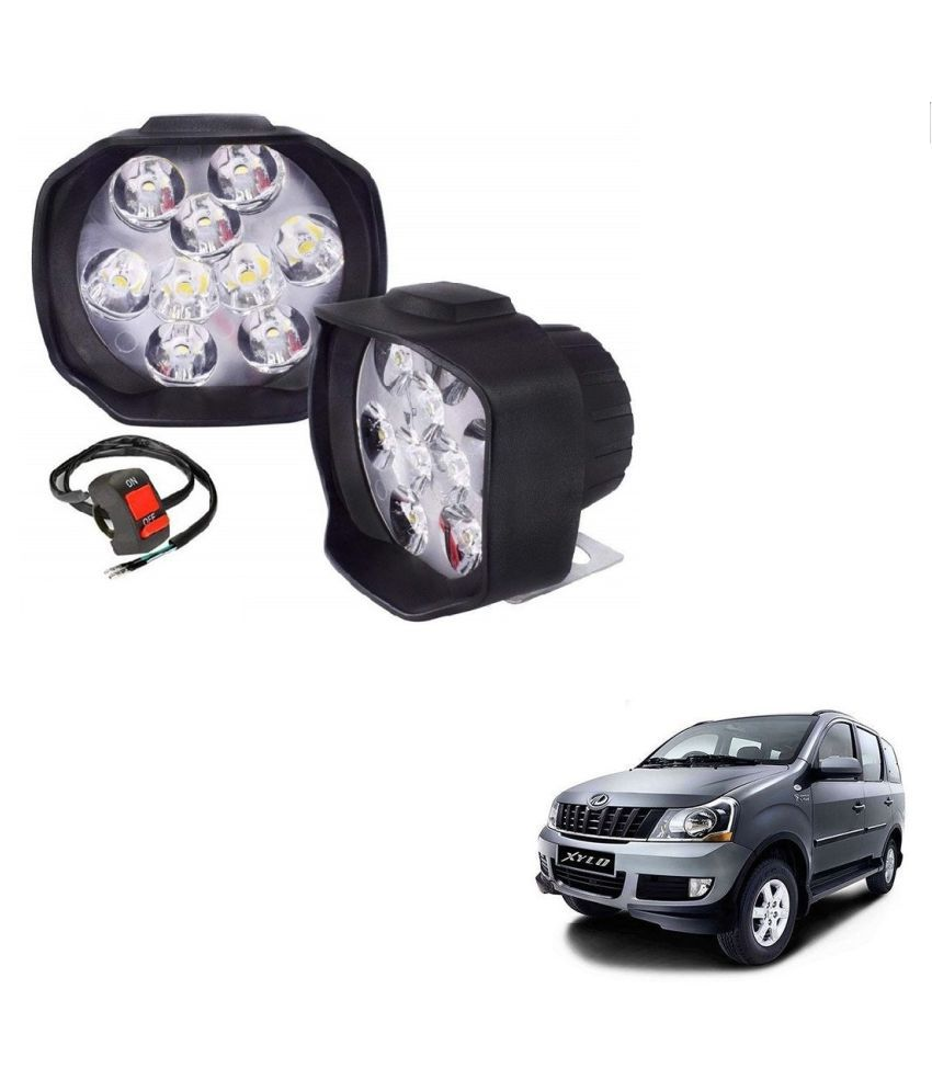 Auto Addict 9 LED 16W Anti-Fog Spot Light Auxiliary Headlight with Switch Set of 2 Pcs For Mahindra Xylo