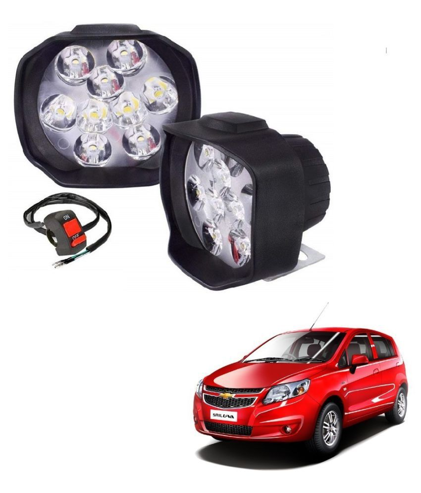 Auto Addict 9 LED 16W Anti-Fog Spot Light Auxiliary Headlight with Switch Set of 2 Pcs For Chevrolet Sail UVA