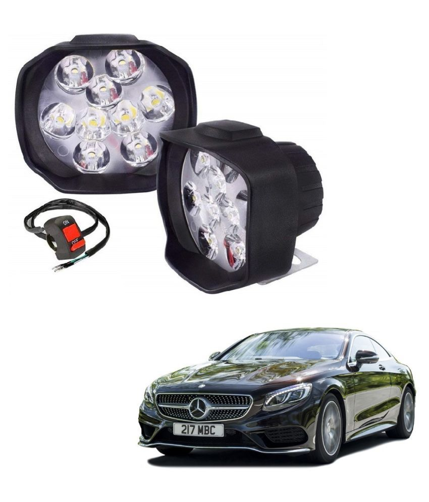 Auto Addict 9 LED 16W Anti-Fog Spot Light Auxiliary Headlight with Switch Set of 2 Pcs For Mercedes Benz S Coupe