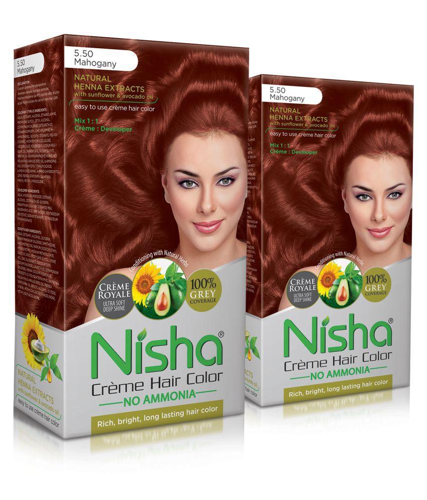 Nisha (60gm, 60ml, 12ml) Cream Permanent Hair Color Mahogany Mahogany 5.5 120 mL Pack of 2