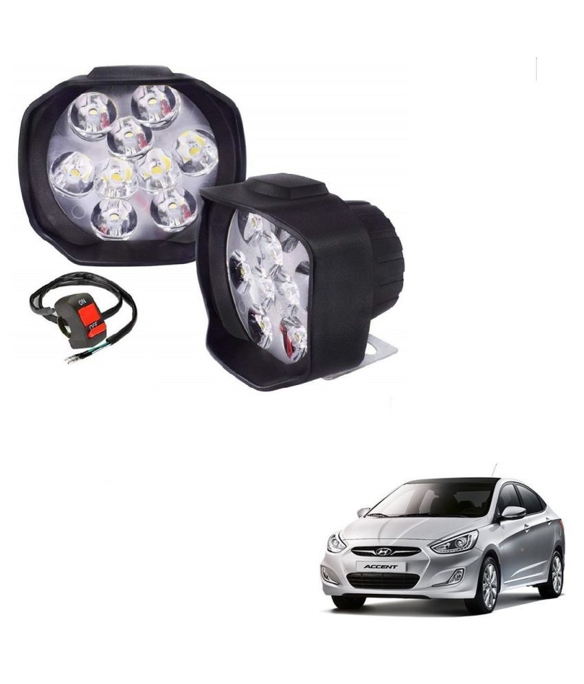 Auto Addict 9 LED 16W Anti-Fog Spot Light Auxiliary Headlight with Switch Set of 2 Pcs For Hyundai Accent