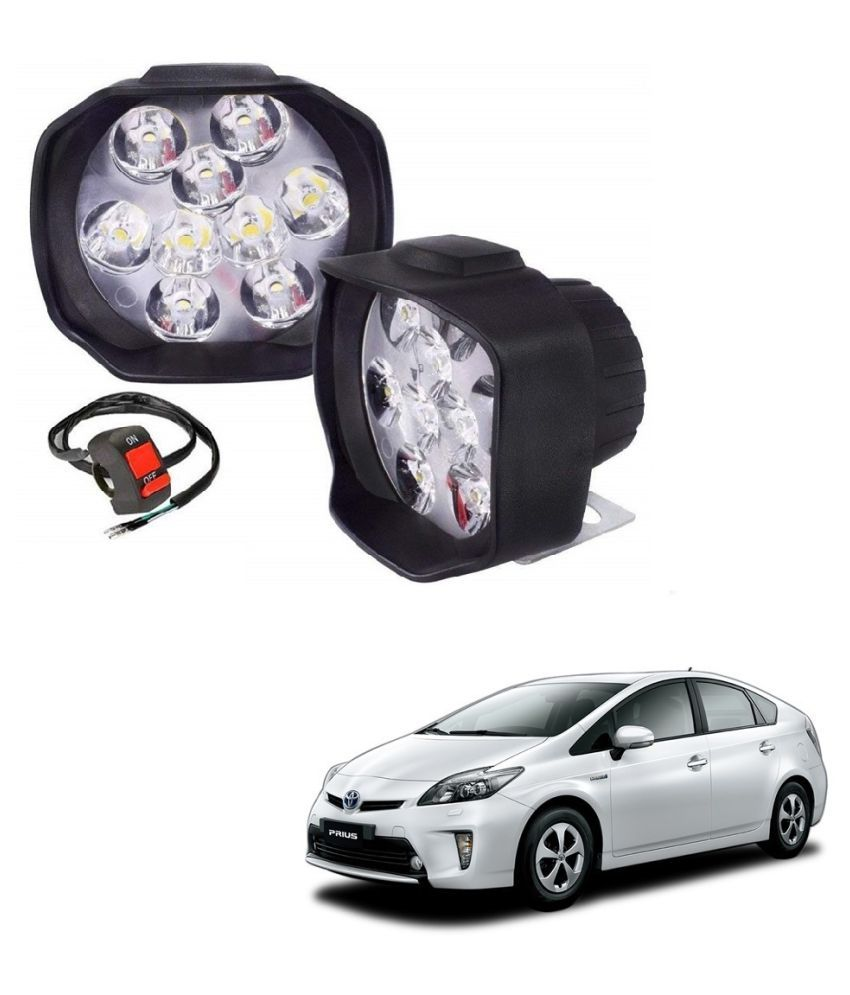Auto Addict 9 LED 16W Anti-Fog Spot Light Auxiliary Headlight with Switch Set of 2 Pcs For Toyota Prius
