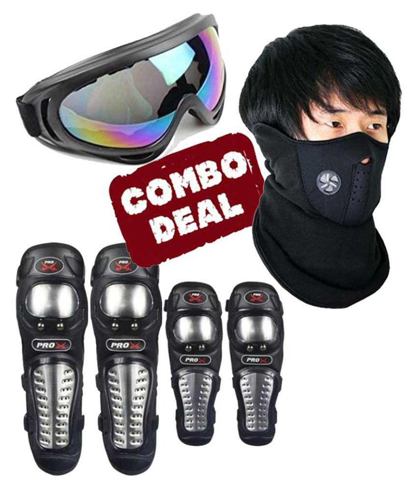 Biker Protective Gear Combo of Pro X Elbow Knee Guard Neoprene & Goggle