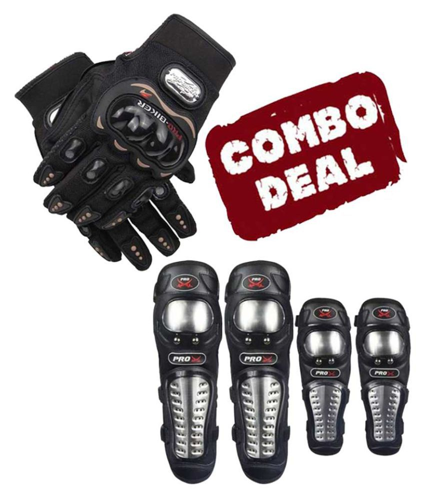Biker Protective Gear Combo of Pro X Elbow Knee Guard & Pro Gloves