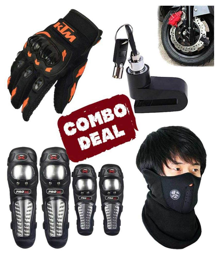 Biker Protective Gear Combo of Pro X Elbow Knee Guard Neoprene KTM Gloves & Disc Brake Lock