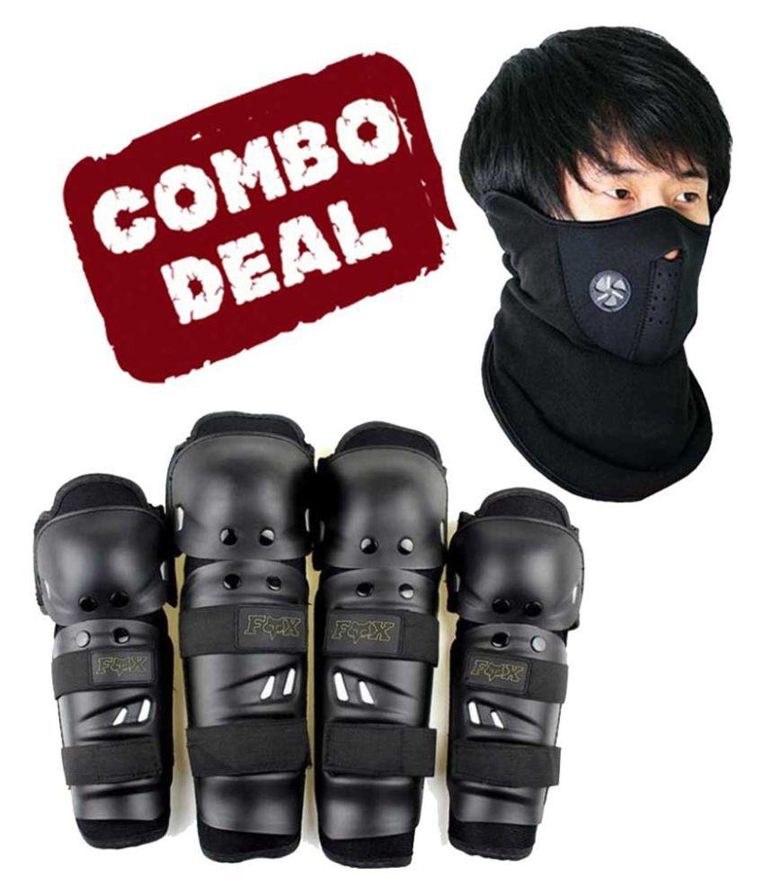Biker Protective Gear Combo of Fox Elbow Knee Guard & Neoprene