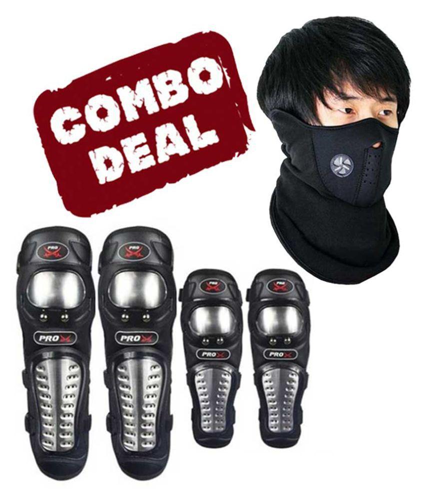 Biker Protective Gear Combo of Pro X Elbow Knee Guard & Neoprene