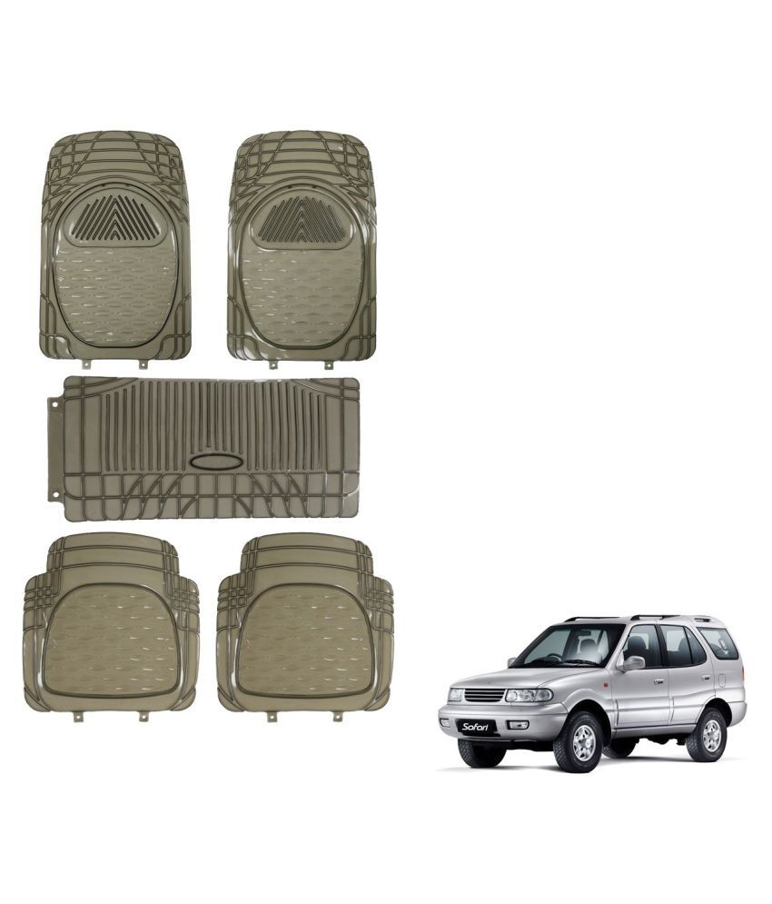 Auto Addict Car Rubber PVC Car Mat 6205 Foot Mats Smoke Color Set of 5 pcs For Tata Safari Dicor