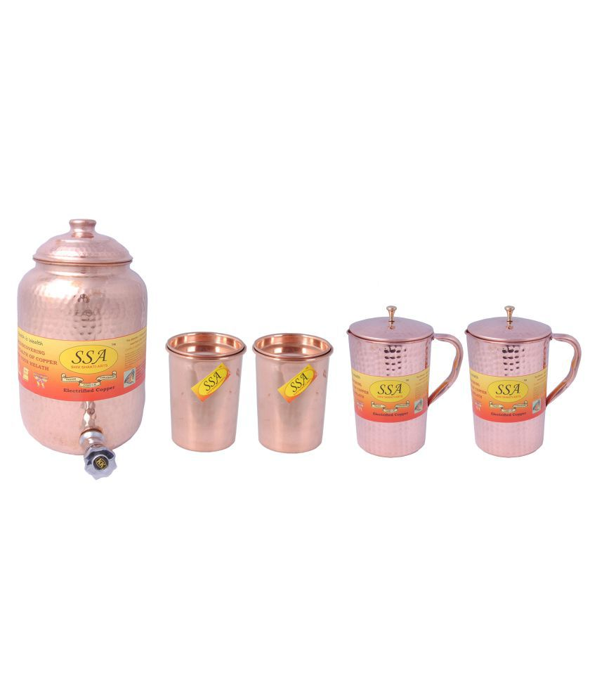 Shiv Shakti Arts Copper Drinkware Set 5 Pcs Jug and Glass Combo