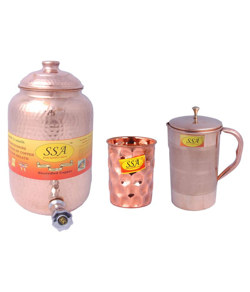 Shiv Shakti Arts Copper Drinkware Set 3 Pcs Jug and Glass Combo