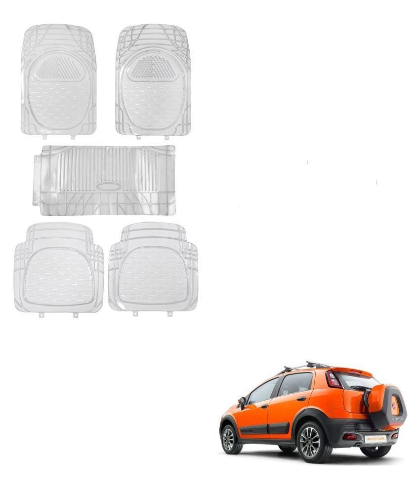 Auto Addict Car Rubber PVC Car Mat 6205 Foot Mats Clear Color Set of 5 pcs For Fiat Avventura