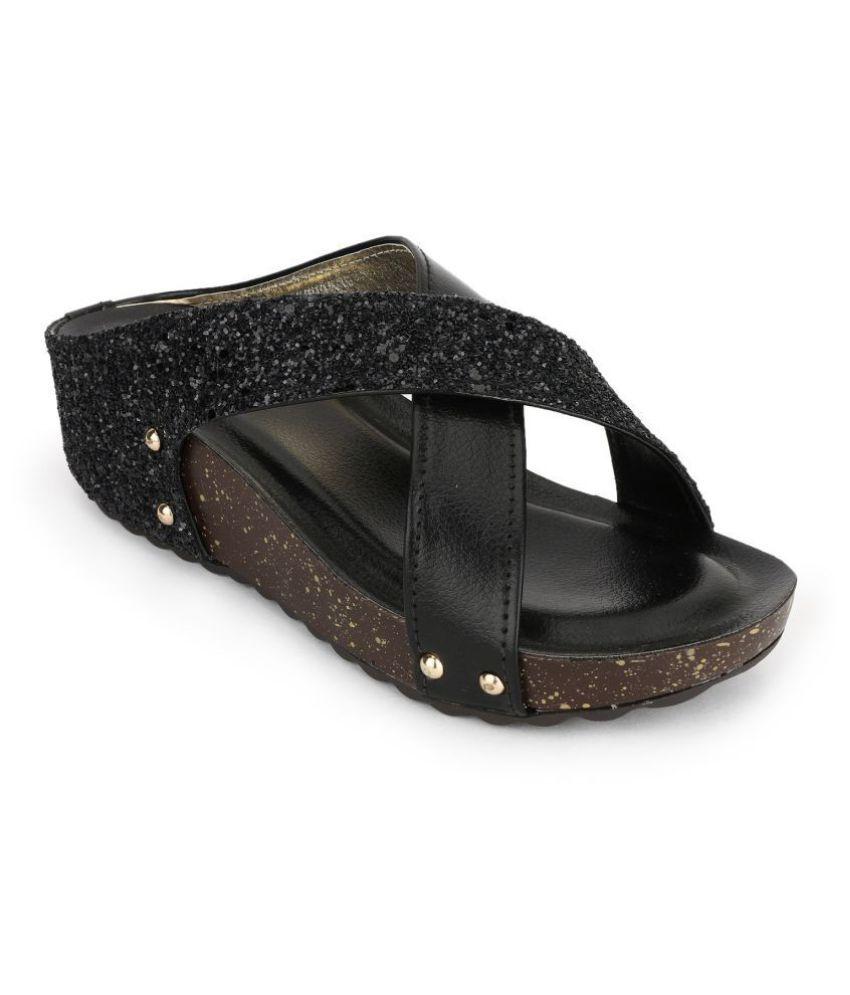 SHOFIEE Black Wedges Heels