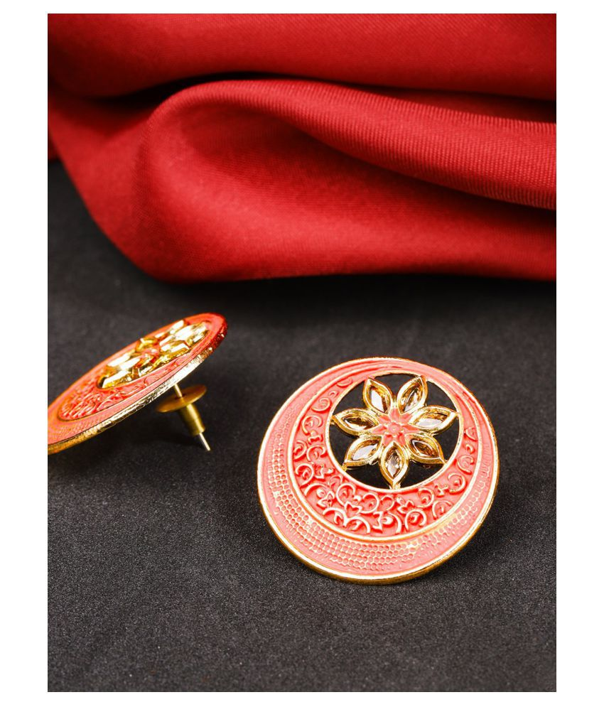 Priyaasi Designer Gold Plated Kundan Studded Floral Design Red Colour Chandbalis Drop Earrings For Women and Girls