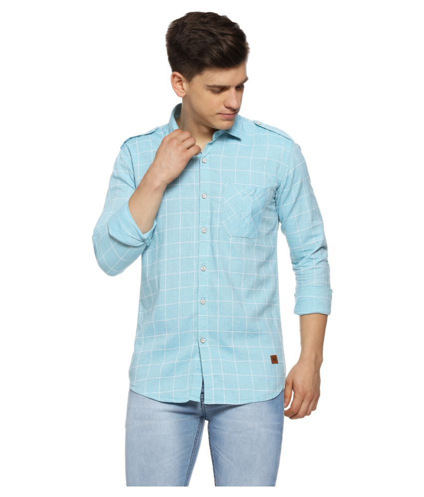 Campus Sutra 100 Percent Cotton Blue Checks Shirt