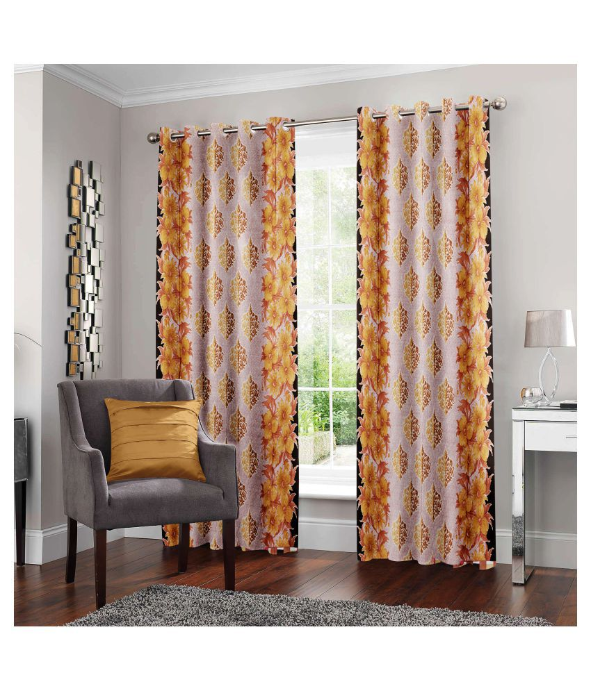 Story@Home Set of 2 Door Semi-Transparent Eyelet Polyester Curtains Multi Color