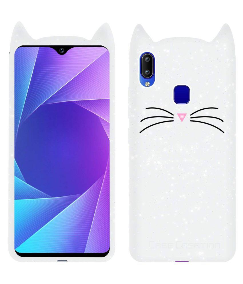 Vivo Y95 Plain Cases KOVADO - White 3D Cute Cat Kitty Back Cover