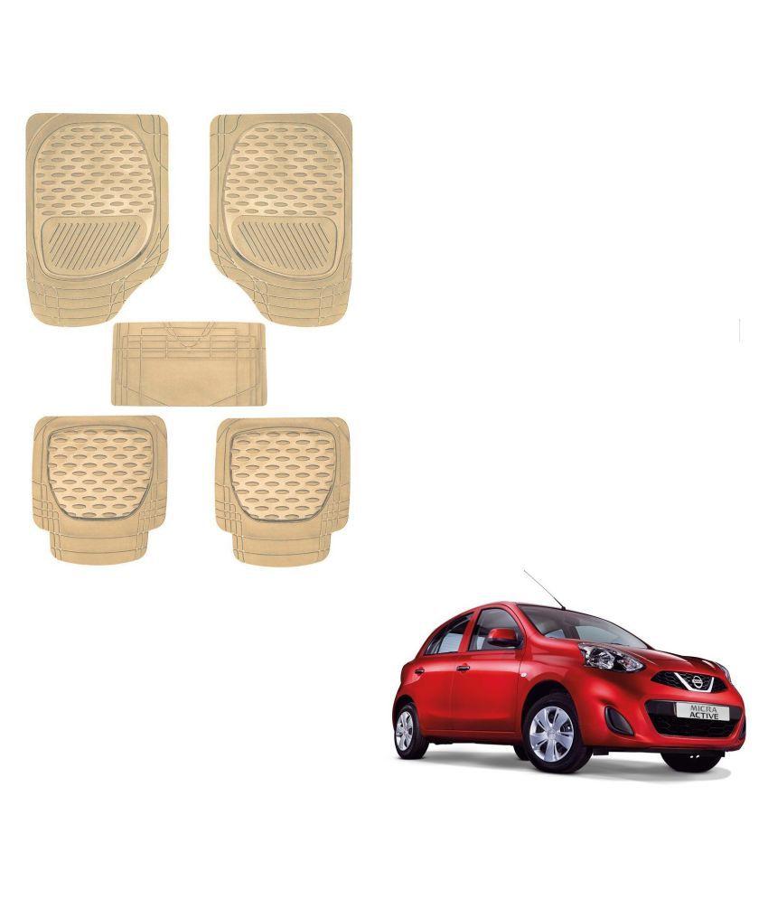 Auto Addict Car 6255 TW Rubber PVC Heavy Mats Beige Color Set Of 5 Pcs For Nissan Active