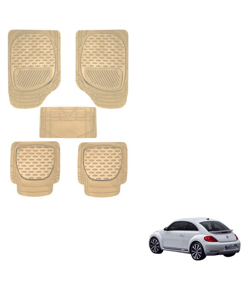 Auto Addict Car 6255 TW Rubber PVC Heavy Mats Beige Color Set Of 5 Pcs For Volkswagen Beetle