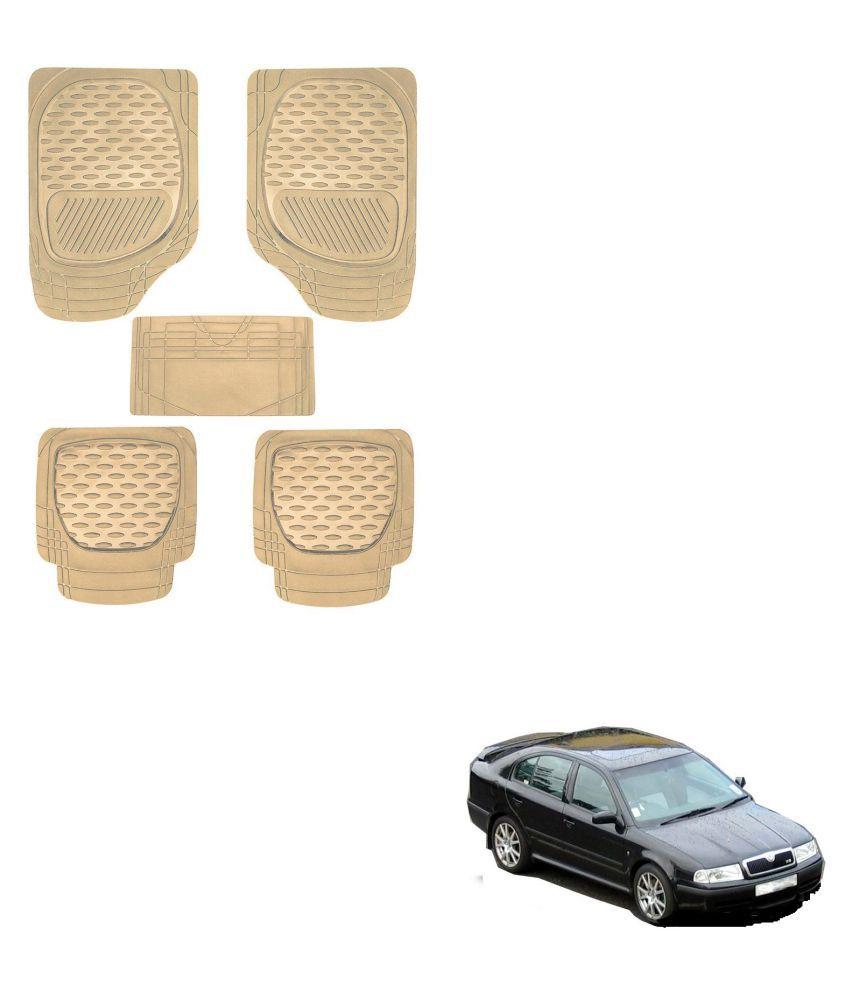 Auto Addict Car 6255 TW Rubber PVC Heavy Mats Beige Color Set Of 5 Pcs For Skoda Old Octavia