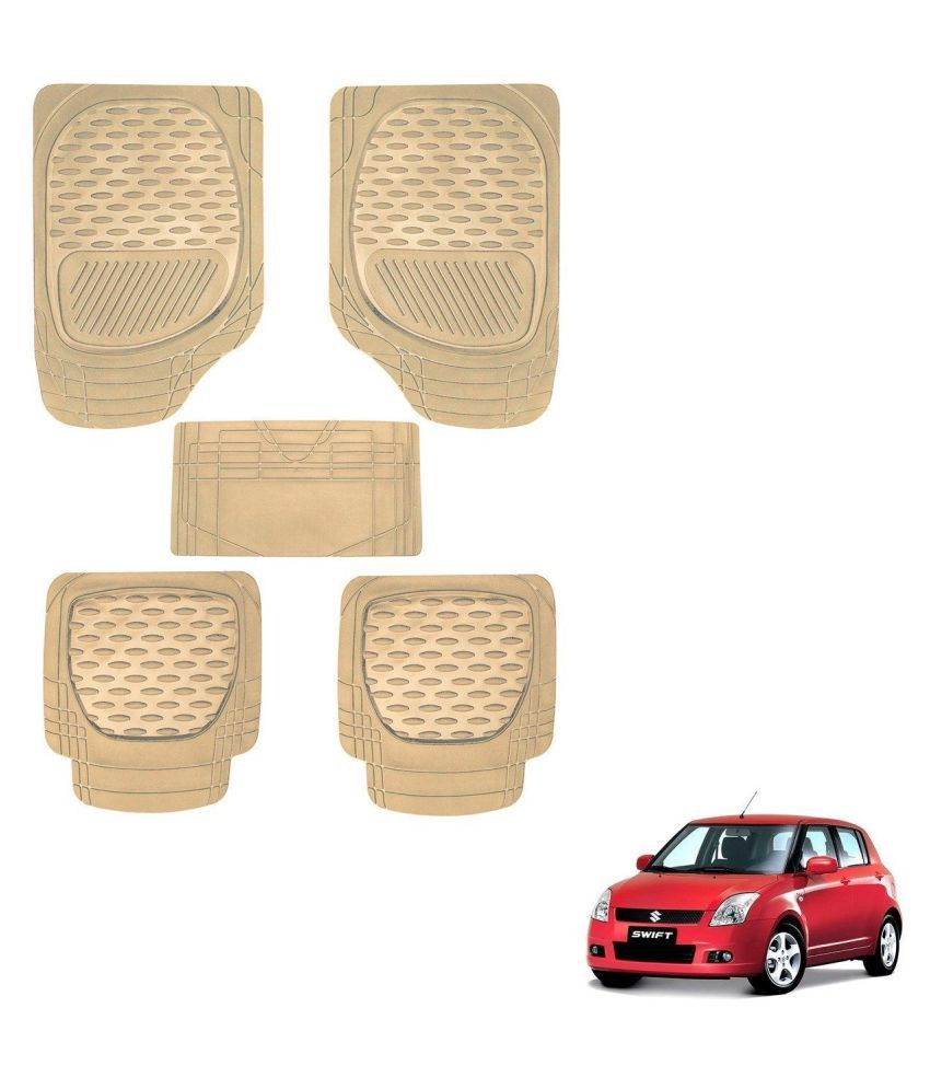 Auto Addict Car 6255 TW Rubber PVC Heavy Mats Beige Color Set Of 5 Pcs For Maruti Suzuki Old Swift