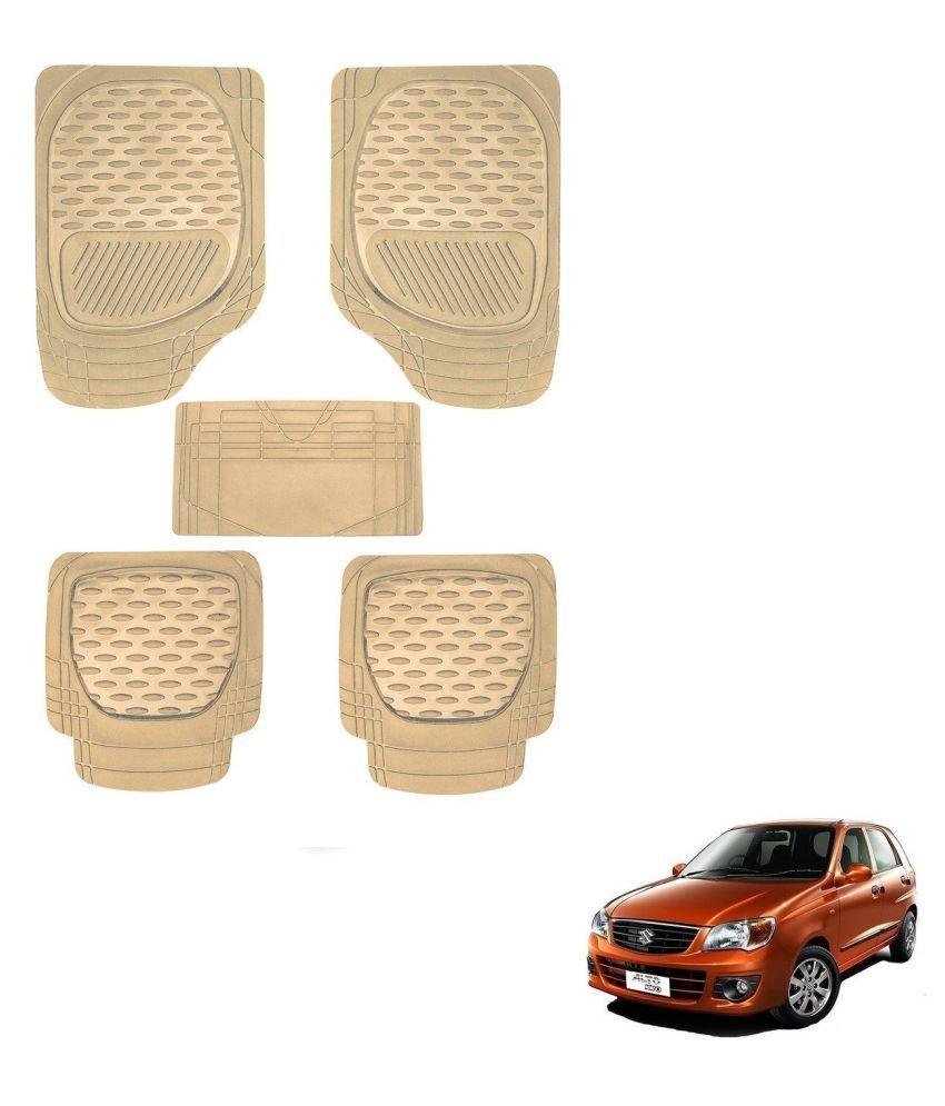 Auto Addict Car 6255 TW Rubber PVC Heavy Mats Beige Color Set Of 5 Pcs For Maruti Suzuki Alto K10